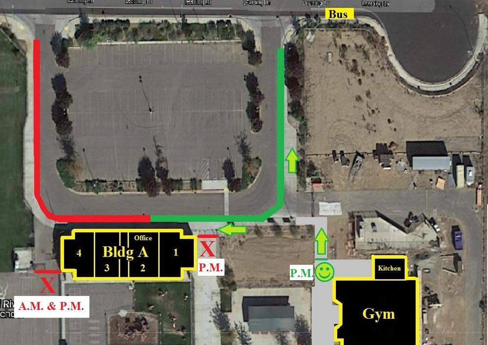 Aerial view of school showing pick up and drop off points